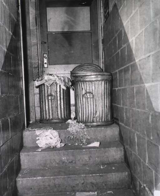 <p>Exterior view: Two trash cans on a concrete stoop are outside a closed door of the Acquisition Division.</p>