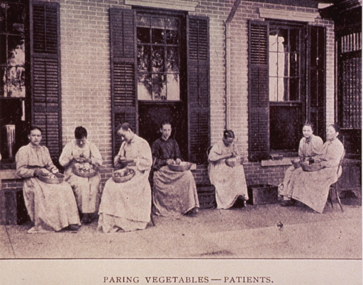 <p>Group of epilepsy patients are paring vegetables outside a building at the Craig Colony.</p>