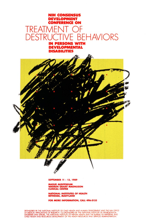 <p>White poster with a yellow square in the center.  The square has black marks that look like scribbling done in crayon.  Scattered across the box and scribbling are small red squares.  A phone number is given for further information.</p>