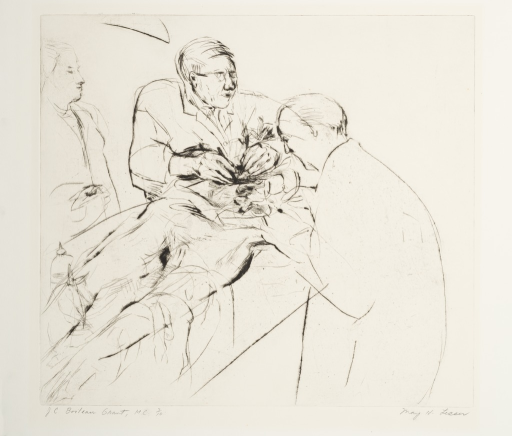 <p>Dr. Grant and his assistant dissecting a human cadaver.</p>
