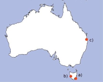Regions with available hydrodynamic models explored in this paper: (a) South East Tasmania; (b) Macquarie Harbour; and (c) Moreton Bay.