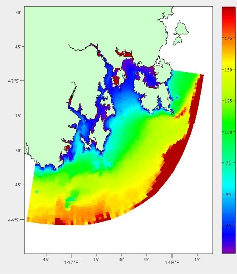 Depth cost derived from the hydrodynamic model for South East Tasmania.