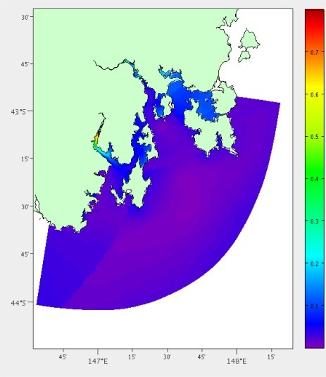 Percentage temperature and salinity error after interpolation using the hydrodynamic model for South-East Tasmania.