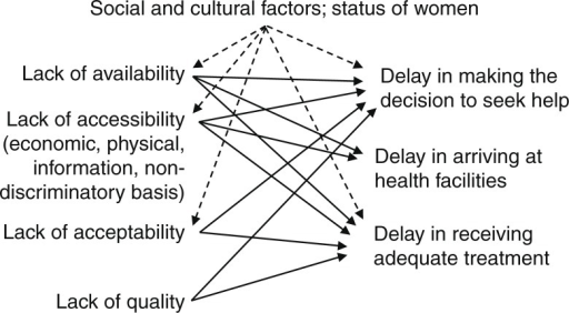 The 'three delays' model and lack of elements of a human rights approach to maternal health (59).