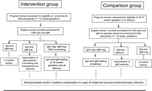 Overview of the study design. Participation in the study was restricted to adult (> 18 years of age) Italian pregnant women undergoing serum screening for fetal aneuploidy at 11–12 weeks of gestation and at risk for CMV infection. Interpretation of IgM-positive results and prenatal or neonatal diagnosis of congenital CMV infection in case of maternal seroconversion or primary infection in the first trimester of gestation were performed outside of the present study as part of routine care in case of suspected or confirmed primary CMV infection (dotted boxes).