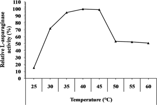 Effect of the temperature on L-asparaginase activity.