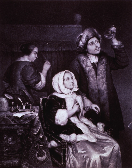 <p>A physician is holding a urine flask up to examine its contents as he takes the pulse of a woman patient sitting in a chair; a woman in the background casts a leering glance at the couple.</p>