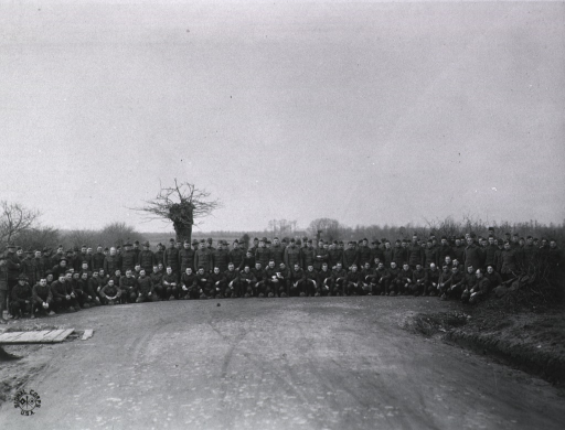 <p>Detachment personnel at U.S. Army Camp Hospital no. 11, St. Nazaire, France during World War I.</p>