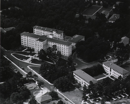 <p>Aerial view of hospital building and two classroom buildings located on the campus of Emory University.</p>