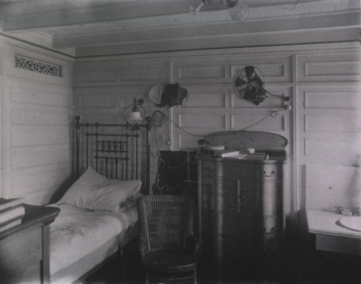 <p>Interior view of a medical officer's state room.</p>