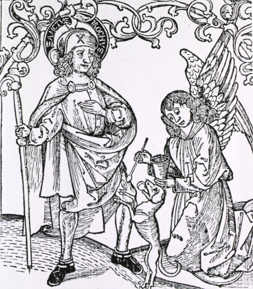 <p>A man stands on the left holding a staff; kneeling on the right, an angel holds a container of salve and using an applicator applies salve to a wound on the leg of the man; a dog stands between them with its front paws on the man's left knee.</p>