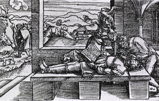 <p>A physician is operating on the eyes of a man who is tied to a table; the patient is holding an open book at his waist; a bird is gouging the eyes of a woman standing behind the table; a blind man and his dog pass to the left.</p>