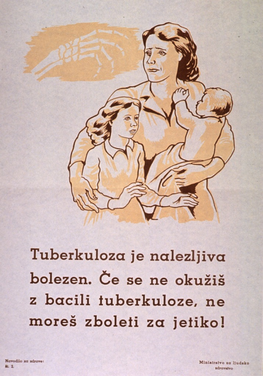 <p>Off-white poster with brown lettering.  Visual image is an illustration of a mother and two children.  The mother carries one child and wraps her arm around the other.  The mother looks over her shoulder toward a skeletal hand.  Title below illustration indicates that tuberculosis is an infectious disease and appears to discuss how the disease is transmitted or prevented.  Series statement in lower left corner.  Publisher information in lower right corner.</p>