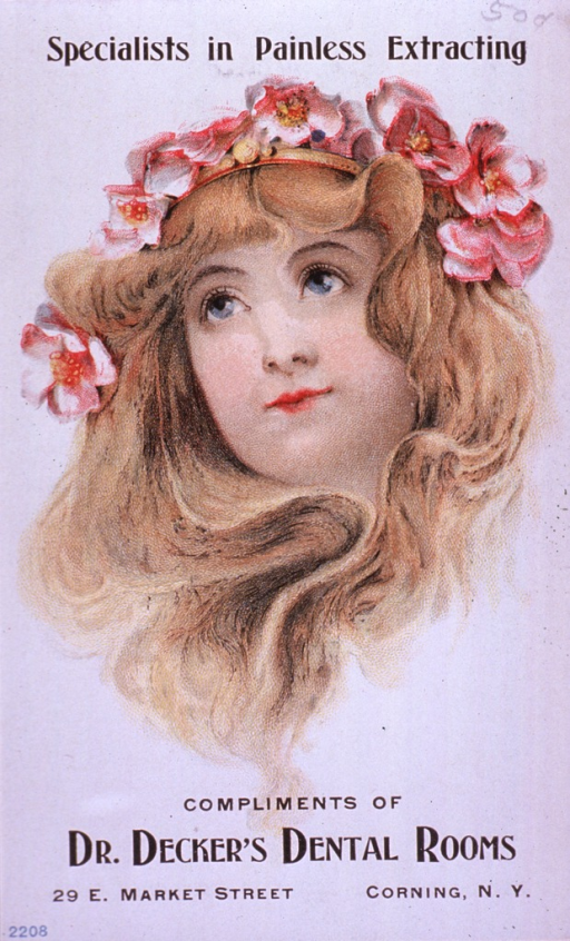 <p>Advertising card with prices for dental work given on verso.  Visual motif:  Head of young woman wearing floral arrangement headband.</p>