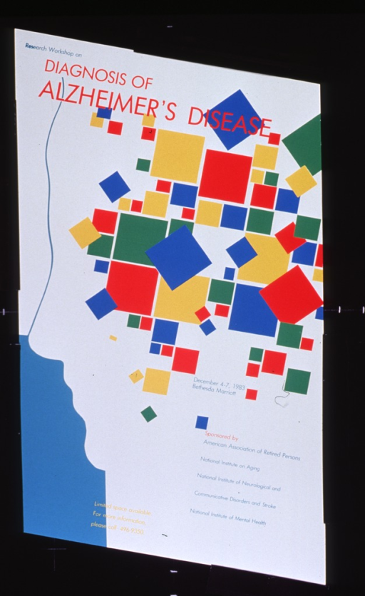 <p>White and aqua poster with multicolor lettering.  Title in upper left corner.  Visual image is a slightly abstract profile of a face and head.  A series of rectangles is superimposed on the head, as if to suggest the brain.  Date and location of the workshop and its sponsors listed near lower right corner.</p>