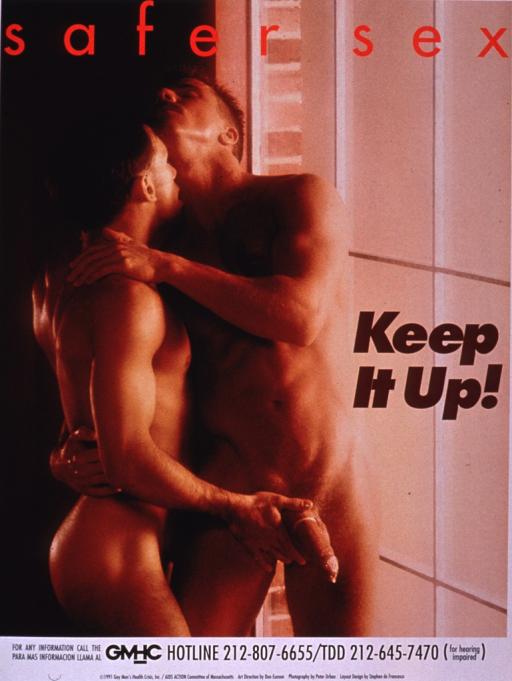 <p>Poster shows two men embracing, one wearing a condom. GMHC hotline information in English and Spanish is at the bottom of the poster.</p>