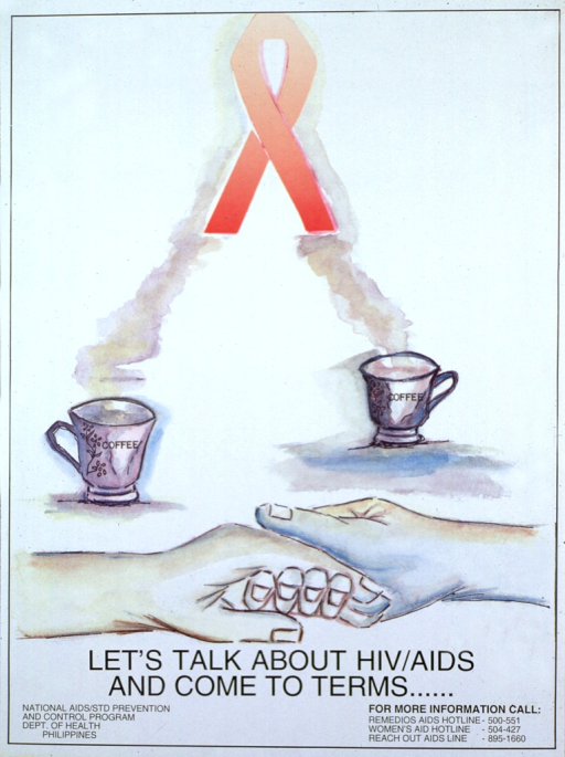 <p>White poster with black lettering.  Visual image dominates poster.  Image is a reproduction of a watercolor painting showing two hands joined together, as if in a gesture of support.  In the background, two coffee cups each send up a plume of steam.  As the plumes begin to converge, they follow the shape of an AIDS awareness red ribbon at the top of the poster.  Title below image.  Publisher information in lower left corner.  Phone numbers for more information in lower right corner.</p>