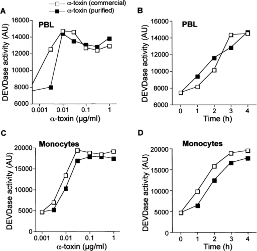 S. aureusα-toxin induces caspase-3 activation in human PBL and monocytes. DEVDase activity in extracts of PBL (A and B) and monocytes (C and D). Cells were either incubated for 4 h with the indicated α-toxin concentrations (A and C) or with 30 ng/ml α-toxin for the indicated times (B and D).