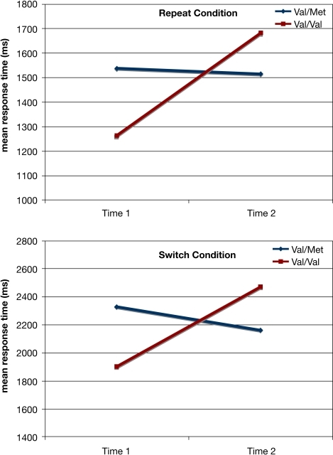 Results from the task-switching paradigm as a function of the BDNF polymorphism and Time for each condition. Only the Val/Val homozygotes experienced a decline in performance for both the repeat and switch conditions, whereas the Val/Met carriers showed no decline over the 10-year span.