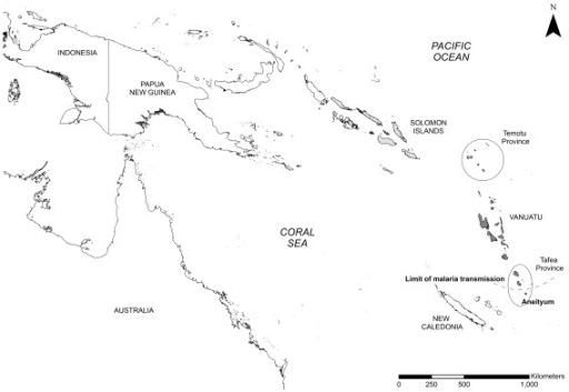 Map showing survey sites in Vanuatu (Tafea Province) an
