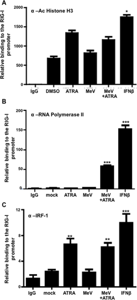 Activation of RIG-I promoter only upon combination of MeV infection and retinoid treatment.U937 cells were infected with MeV at an MOI of 0.1 and/or treated with 1 µM ATRA or DMSO for 24 hours. 1000 U/ml of IFNβ was used as a positive control. These samples were then immunoprecipitated the following primary antibodies (A) Acetylate Histone H3 (B) Pol II (C) IRF-1. The pulled-down DNA was analyzed by qPCR using primers specific for the RIG-I promoter as described in the materials and methods. Data presented are representative of experiments performed in triplicate between two and three times (N = 2–3). *p<0.05, **p<0.01, ***p<0.001.