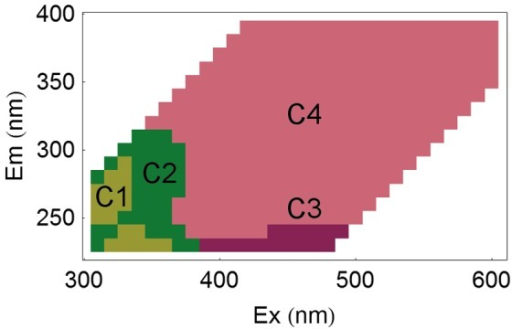 Localisation of the fluorescence components.Representation of the four groups of wavelength coordinates determined by correlation analysis on the excitation-emission space.