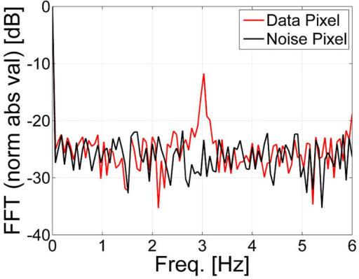 The Fourier transform of the temporal fluctuations of pixels in the recorded images.The data pixels present a clear peak at the modulation frequency of 3 Hz (red line) and the noise pixel does not contain any peak (black line).
