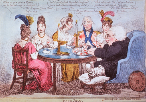 <p>A group of men and women sitting around a table playing the card game Pope-Joan. To the right a large man with gouty foot is seated in a wheeled chair.</p>
