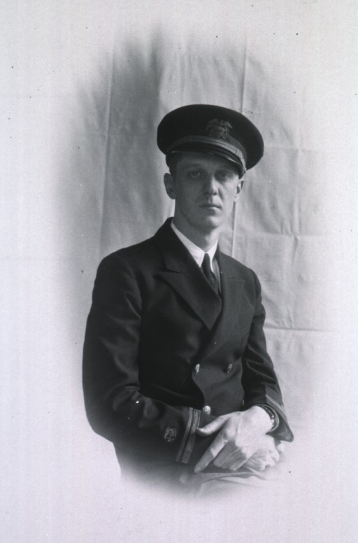 <p>Three-quarter length, full face, body to right, hands clasped, wearing USPHS uniform and cap.</p>