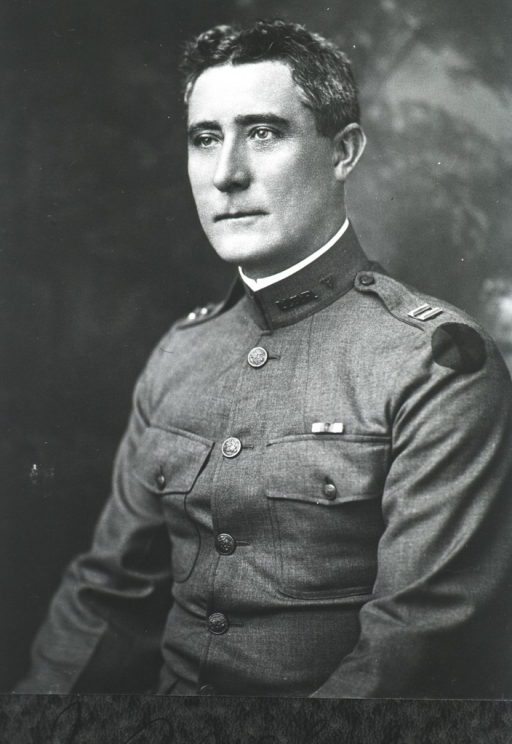 <p>Head and shoulders, left profile, in uniform.</p>