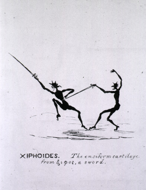 <p>Two stick figures engage in a sword fight.</p>