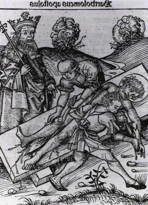 <p>A man wearing a crown and robes and holding a scepter observes as two men flay another man lying on a table.</p>