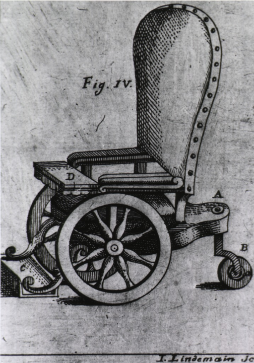 <p>Wheelchair with small 'third wheel' in rear.</p>