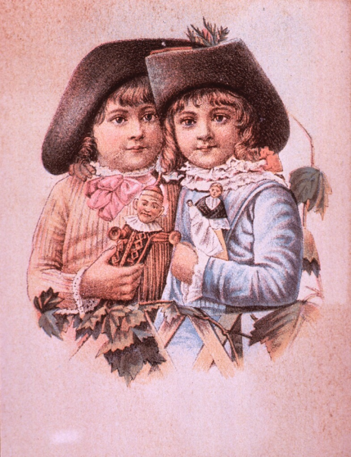<p>Brown's Iron Bitters, a cure for headache and neuralgia.  Visual motif:  Two children standing together, each holding a doll.</p>