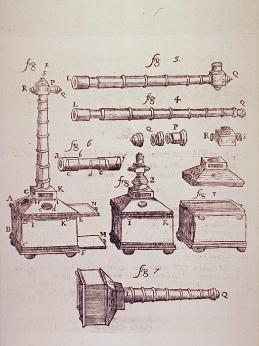 <p>An optical device illustrated whole, and in a dismantled state showing the various parts.</p>