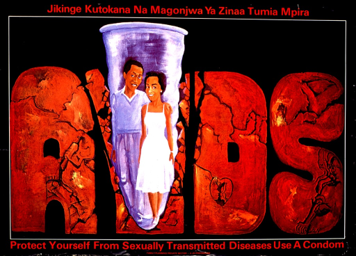 <p>Predominantly black poster with red lettering.  Title in Swahili at top of poster.  Visual image is an illustration of the word AIDS that looks like it is carved from stone.  A condom containing a male-female couple cuts through the &quot;i&quot;.  The other letters appear to have abstract etchings, such as a person lying in a bed, a heart, and a person injecting drugs.  English title below illustration.  Publisher information and note at bottom of poster.</p>
