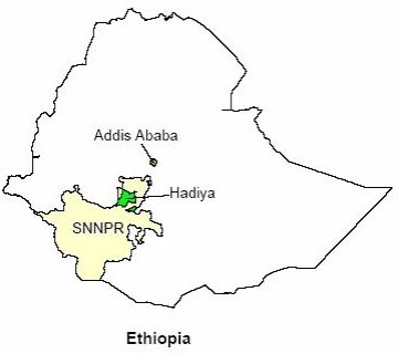 Map of Ethiopia with the study area highlighted. Ethiopia is administratively divided into nine regional states and two city administrations, and the Southern Nations, Nationalities and Peoples' Regional State (SNNPRS) accounts for one-fifth (13 million) of the total population of the country. The study area (Hadiya zone) has got a population of 1.2 million.