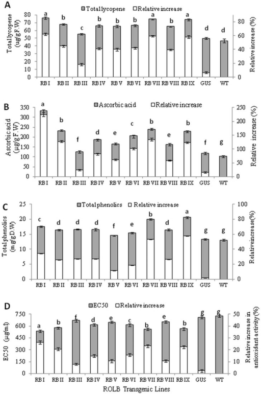 Biochemical analysis of rolB transformed tomato plants.(A) Determination of Lycopene content (B) Ascorbic acid content (C) Total phenolic content and (D) Antioxidant activity along with their relative increase in fruits of rolB transgenic lines of tomato. RB  =  rolB transformed; GUS =  GUS transformed control; WT  =  Wild-type (untransformed control). Data represents mean of three replicates. Any two values with same alphabet did not differ significantly at 5% probability level using LSD test.
