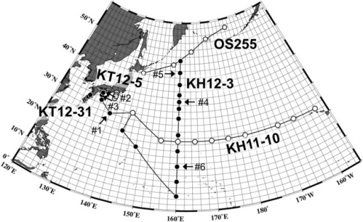 Sampling stations (circles) in the North Pacific with the cruise names.White circle: R/V Hakuho-maru, KH11-10 cruise; Black circle: R/V Hakuho-maru, KH12-3 cruise; Light gray circle: R/V Tansei-maru, KT12-5 cruise; Dark gray circle: R/V Tansei-maru, KT12-31 cruise. Arrows with a #number represent the sample IDs shown in Fig 2.