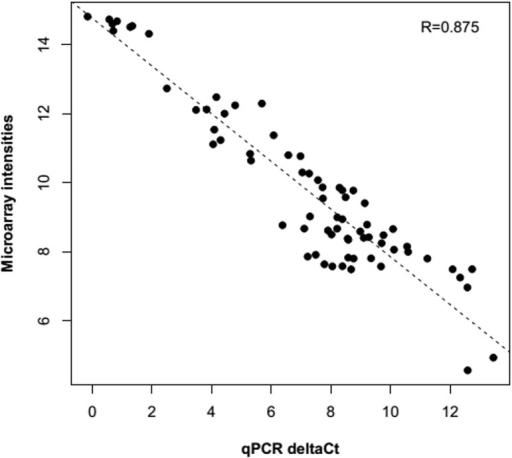Real time PCR validation of microarray results for eight deregulated genes.The plot represents the correlation among the normalized microarray intensities (y-axis) and cycle threshold values from Real time PCR (x-axis).