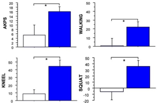 The mean (±SE) change between baseline and 12 weeks post-injection for self-reported knee-related disability and activity induced pain is depicted for BoNT-A injected (blue) versus placebo groups (white). Statistically significant differences (*) were seen between groups for pain on kneeling, walking, squatting and Anterior Knee Pain Scale (AKPS) scores. Reprinted with permission from [45]. Copyright 2011 BMJ Publishing Group Ltd.