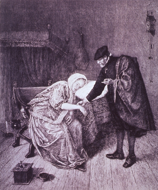 <p>A physician is taking a woman's pulse; she is sitting in a chair, but is slumped over on her left with her head resting on a pillow.</p>