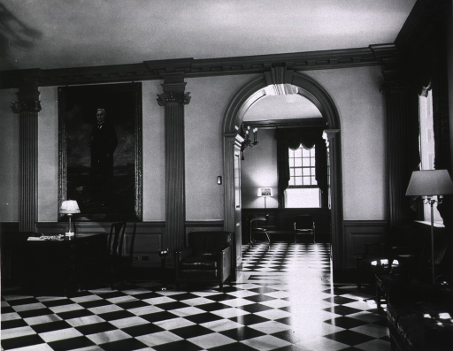 <p>Interior view of the Main Lobby of Emory University Hospital. Portrait on the wall is of Mr. Asa Griggs Chandler, Sr., donor of the original hospital building.</p>