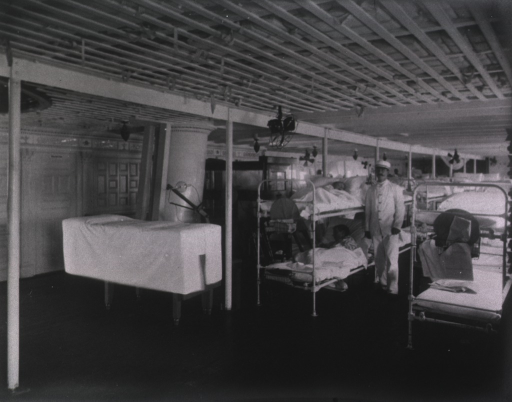 <p>An exterior view of the hospital ship anchored in the New York City harbor.</p>