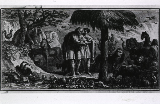 <p>Two men in a woodland scene; one of the men is taking notes and/or sketching the many animals that appear around them.</p>