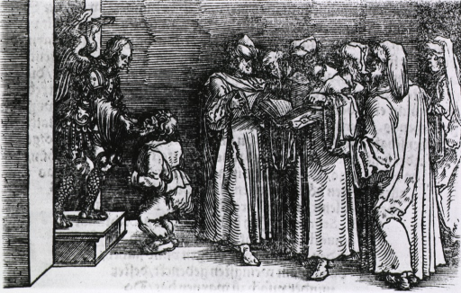 <p>An angel wearing armor offers treatment to a deformed man while a group of physicians stand to the right in consultation.</p>