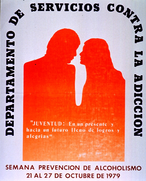 <p>White poster with multicolor lettering.  Initial title words along sides and top of poster.  Visual image is an abstract orange silhouette of a man and woman facing each other.  Caption superimposed on abstraction. Caption appears to wish youth a future full of accomplishments and joys.  Remaining title words at bottom of poster, announcing dates for a week devoted to the prevention of alcoholism.</p>