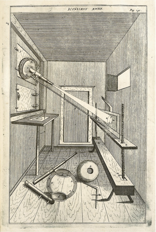 <p>Interior of a room with telescoping lense mounted on a wall; light passes through the lense onto an apparatus against the opposite wall; other telescopic equipment is on the floor.</p>