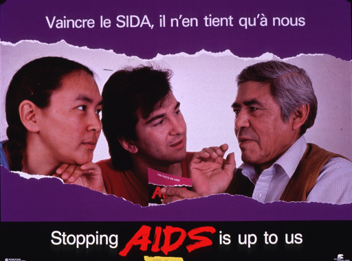 <p>Multicolor poster with white and red lettering.  Title at top of poster.  Visual image is a color photo reproduction featuring an older man speaking to a young man and woman.  The one of the men holds a brochure entitled &quot;The facts about AIDS.&quot;  Caption and publisher information at bottom of poster.</p>