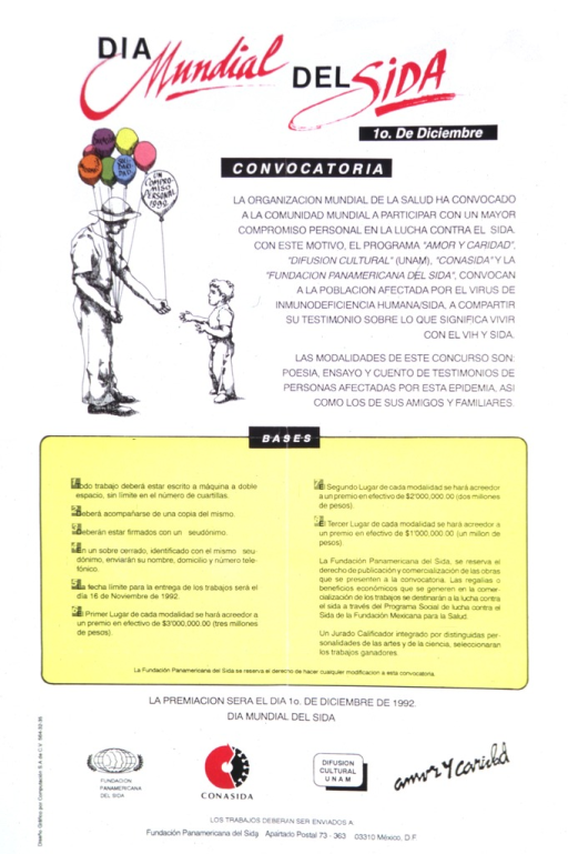 <p>A poster calling for personal stories about living with AIDS for a World AIDS Day convocation.  A man is handing a child a balloon that reads: un compromiso personal 1992.</p>